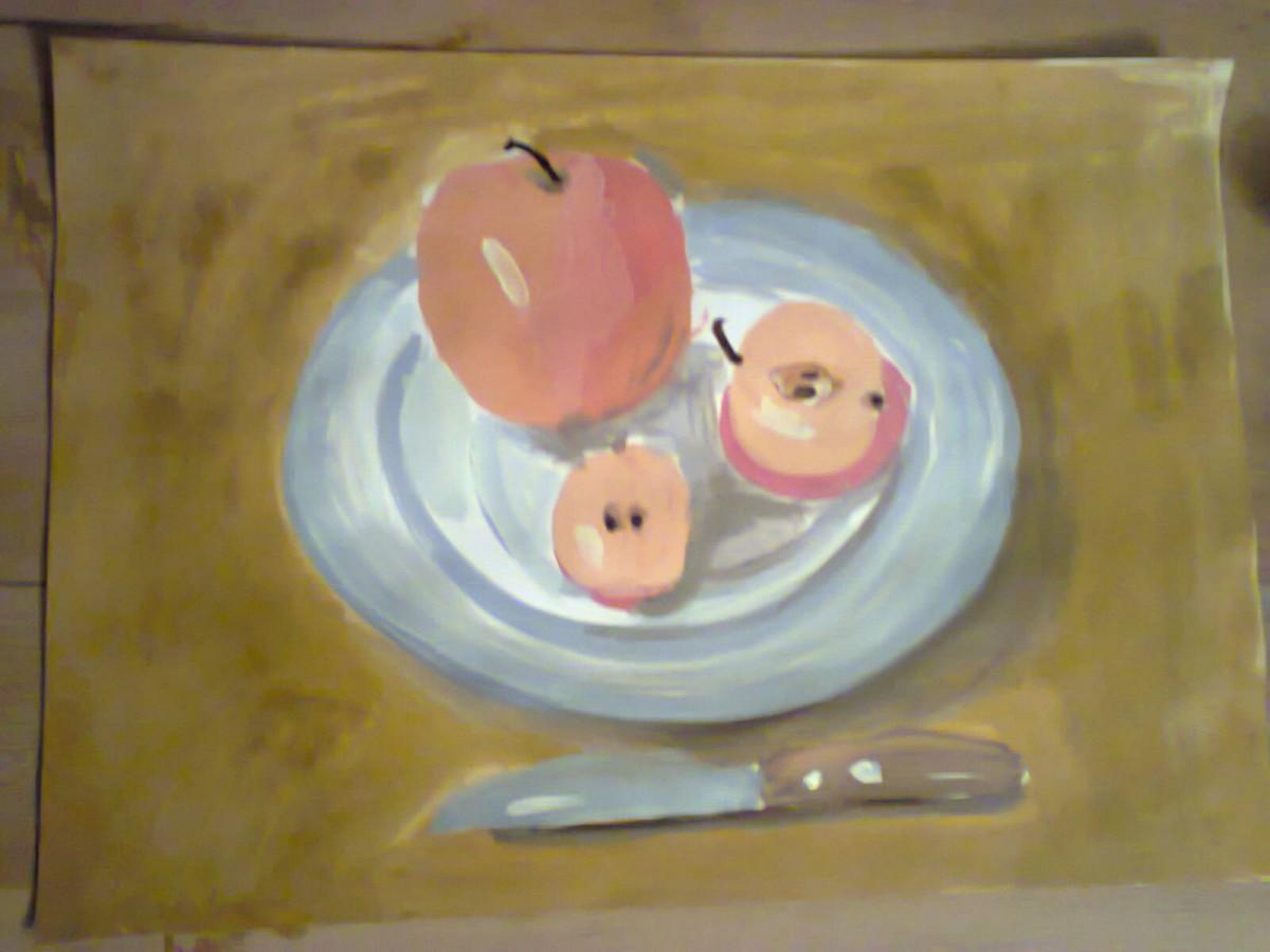 натюрморт с яблоками, Алиса 4 кл.; гуашь.